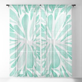 Symmetrical drops - aqua Sheer Curtain