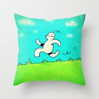 running Throw Pillows featuring Running... by MaComiX