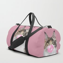 Maine Coon Playing Bubble Gum Duffle Bag