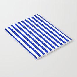Cobalt Blue and White Vertical Deck Chair Stripe Notebook