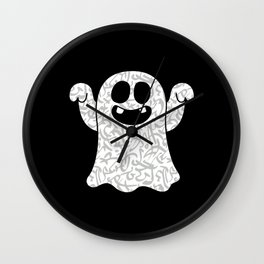 Ghost With Arabic Calligraphy Gift for Ghost Lover Wall Clock