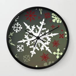 Christmas pattern with snowflakes Wall Clock
