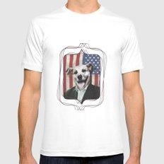 Patriotic Dog | USA MEDIUM Mens Fitted Tee White