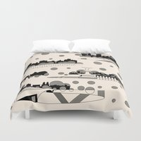 central park Duvet Covers featuring central park snow by Gray