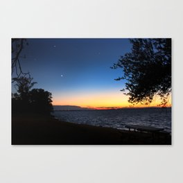 Dark Blue Sky Sunset with Venus and Mars Canvas Print