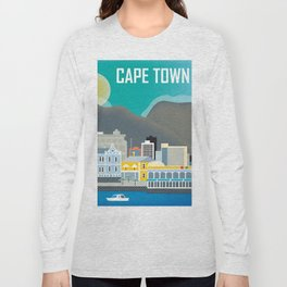 Cape Town, South Africa - Skyline Illustration by Loose Petals Long Sleeve T-shirt