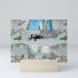 Arctic animals grey Mini Art Print