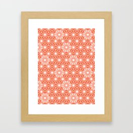 Japanese Asanoha or Star Pattern, Pastel Coral and White Framed Art Print