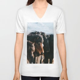 Horses in Iceland - Wildlife animals Unisex V-Neck