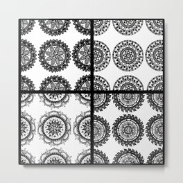 Black and White Patch-Work Mandala Textile Metal Print