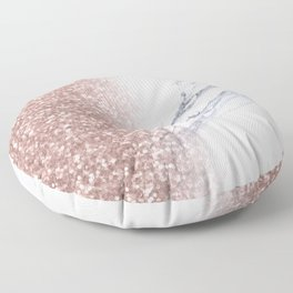 Rose Gold Pink Glitter White Gray Marble Luxury Floor Pillow
