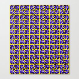 Bluemussel pattern in blue and yellow Canvas Print