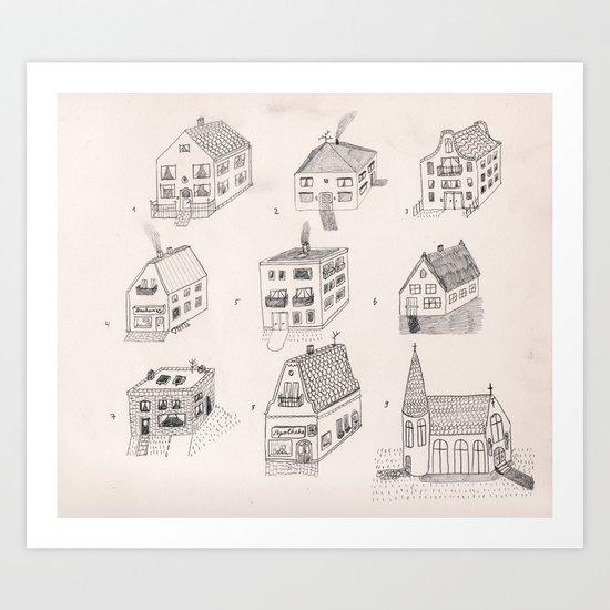 12 tiny houses Art Print