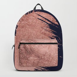 Navy blue abstract faux rose gold brushstrokes Backpack