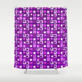 Retro mid century modern purple square pattern Shower Curtain