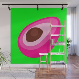 Pink Avocado On Green Background Art Simple Colourful Decor Gift Idea Wall Mural