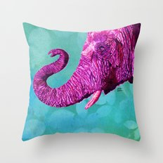 Elephant Cyril. Candy Colored Edition Throw Pillow
