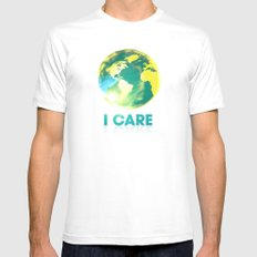 I Care / Blue SMALL White Mens Fitted Tee