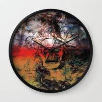 fear Wall Clocks featuring FEAR by sametsevincer