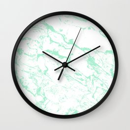 Trendy modern pastel mint green white marble pattern by Girly Trend Wall Clock