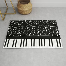 Stylish black and white piano keys and musical notes Rug