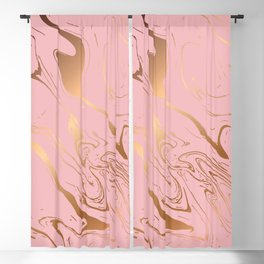 Pink Gold Liquid Marble Blackout Curtain