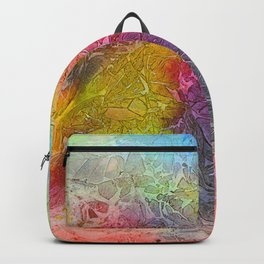Watercolor multicolored texture, abstract paint stains, crumpled paper, wrinkles Backpack