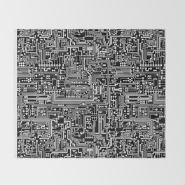 Circuit Board on Black Throw Blanket