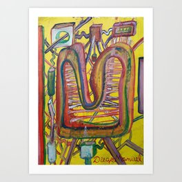 Shapes, cables and radiators Art Print
