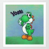 yoshi Art Prints featuring Yoshi by belindazart