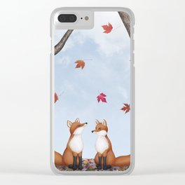 foxes, falling leaves, & pileated woodpecker Clear iPhone Case