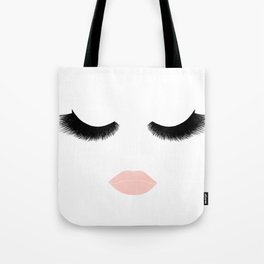 eyelashes with pink lips Tote Bag