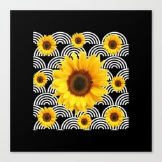 Decorative Black & Yellow Art Deco Sunflowers Canvas Print