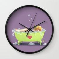 tina crespo Wall Clocks featuring Tina de Amor by Coffeshere