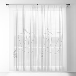Minimal line drawing of woman's folded arms - Anna Sheer Curtain