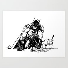 Cleaning up Gotham City Art Print
