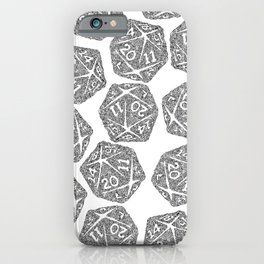 d20 - black and white icosahedron - automatic art pattern and print iPhone Case
