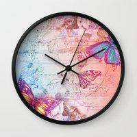 butterflies Wall Clocks featuring butterflies by haroulita