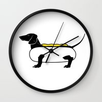 hot dog Wall Clocks featuring Hot Dog by Lucy Conklin