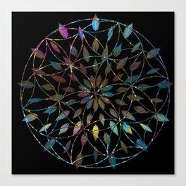 Boho Mandala Flower Splatter Canvas Print
