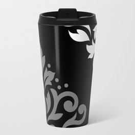 Scroll Damask Art I Black Grey White Travel Mug
