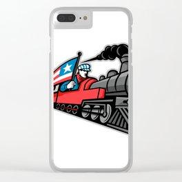 American Steam Locomotive Mascot Clear iPhone Case