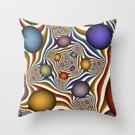 Flying Up, Colorful, Modern, Abstract Fractal Art Throw Pillow