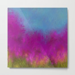 Wildflowers, Impressionist landscape of flowers, grass and sky Metal Print