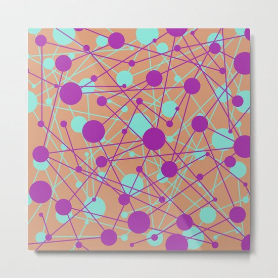 Molecular Madness (Pastel purple, blue and orange) Metal Print