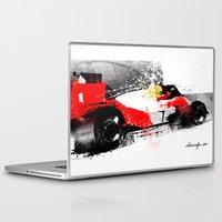 senna Laptop & iPad Skins featuring AYRTON SENNA MP4-4 by Michele Leonello