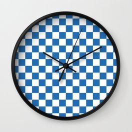 Gingham Azure Strong Blue Checked Pattern Wall Clock