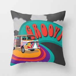 Groovy Camper Van Fantasy Throw Pillow