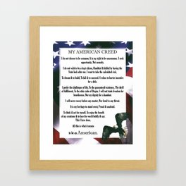 My American Creed Stars and Stripes Bald Eagle USA Proud Framed Art Print