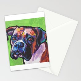 Fun BOXER Dog bright colorful Pop Art Painting by Lea Stationery Cards